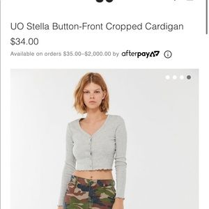 UO Stella Button-Front Cropped Cardigan